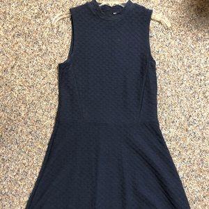 Navy blue high neck dress